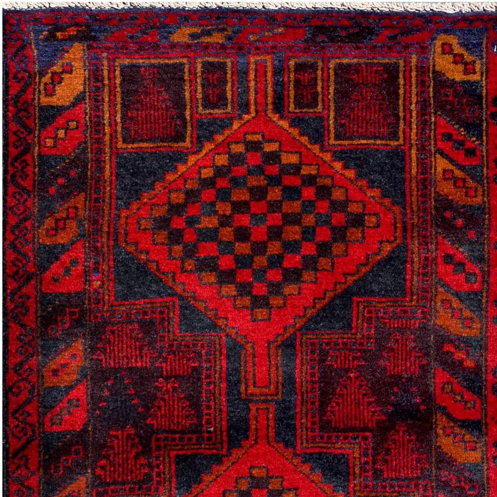 Amazon Com Herat Oriental Afghan Hand Knotted Tribal Balouchi Red Navy Wool Rug 2 8 X 4 3 Furniture Decor