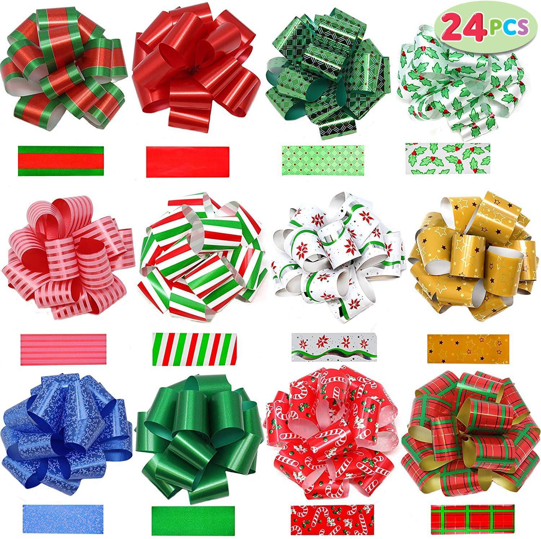 JOYIN 24 pcs Lazos de Cinta Ribbons Suministros para Envolver Regalos Navidad decoración de Botellas de Vino(12.7 cm)