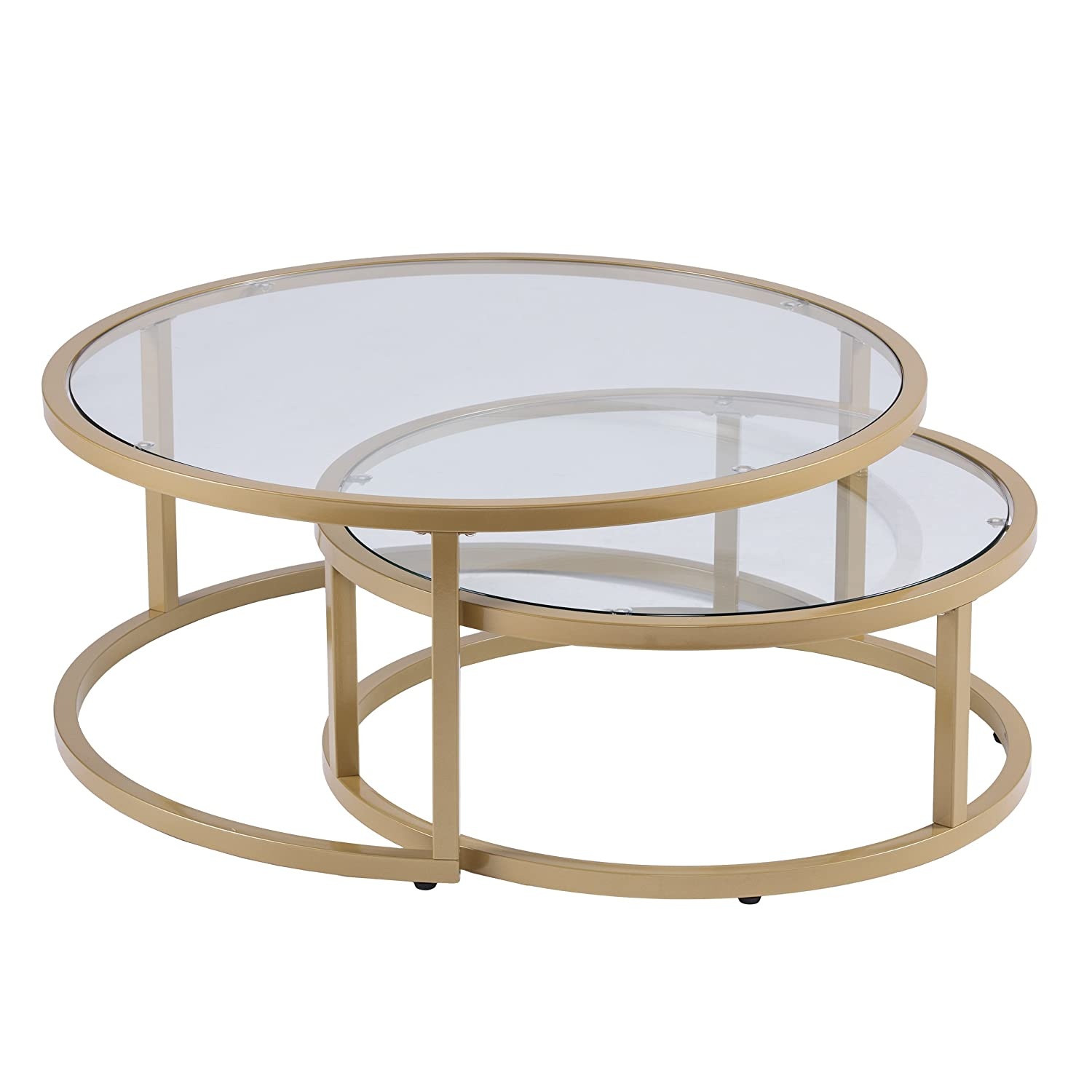 Furniture HotSpot – Gold Nesting Coffee Table - 2 Pc - Round - 35.5