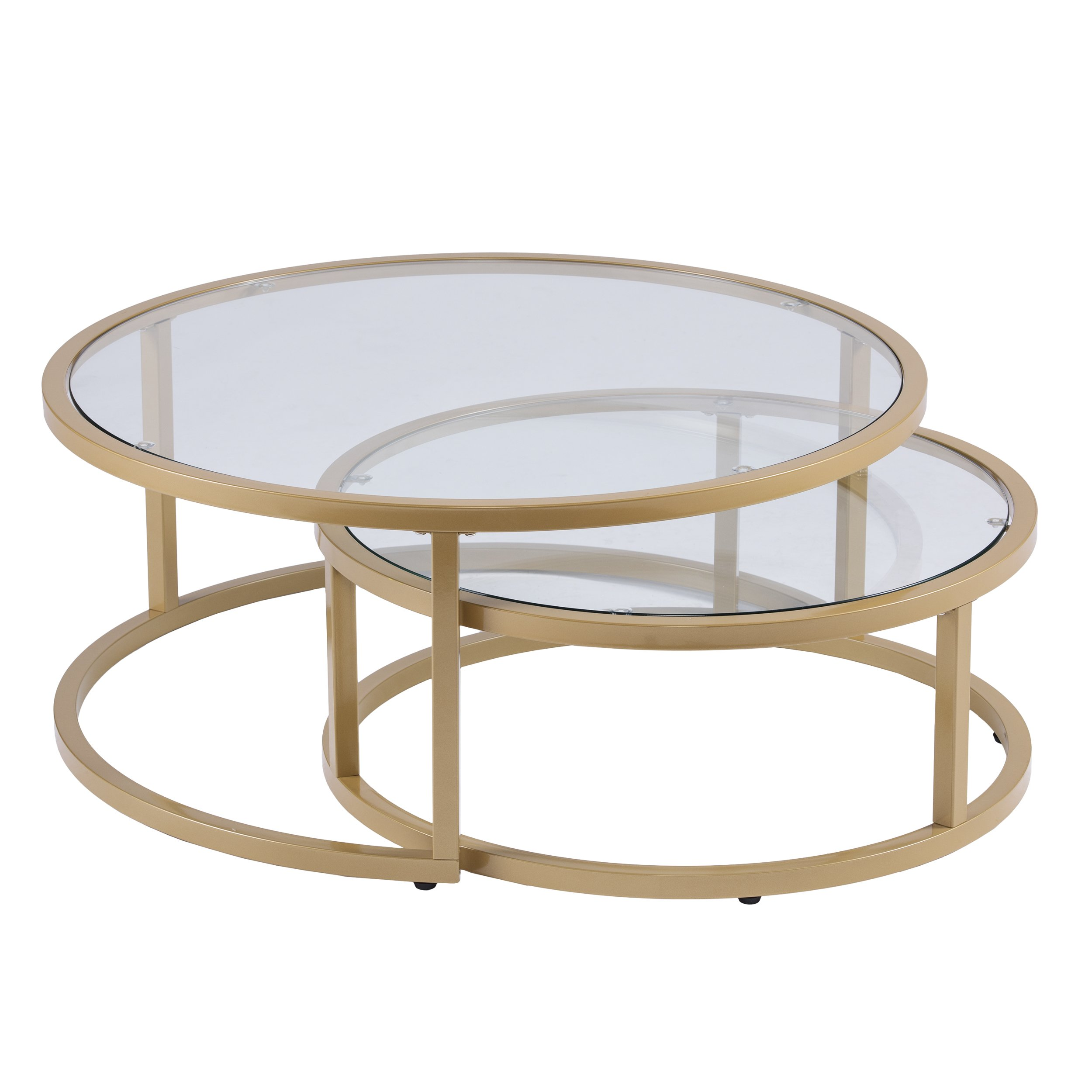 Furniture HotSpot - Gold Nesting Coffee Table - 2 Pc - Round - 35.5'' W x 35.5'' D x 14.75'' H by Furniture HotSpot