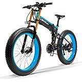 T750Plus 27 Velocidades 1000W/500W Bicicleta Eléctrica Plegable Ciclismo 26 * 4.0 Bicicleta Gorda Disco Hidráulico de Freno 48V 10Ah de Batería de Litio Extraíble, pedal assist Bicicleta Eléctrica