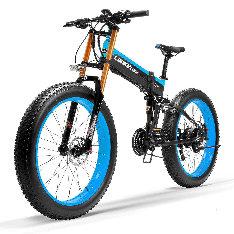 電動アシスト自転車スノーバイク、デュアル油圧ディスクブレーキ&サスペンション、大型リチウムイオンバッテリー (黒青ダウンヒルフォーク, 1000W、14.5Ahプラス1個の予備バッテリー)   B07MNQV5CG
