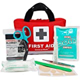 Deluxe First Aid Kit 309 Pieces- Reflective Bag Design - Including Eyewash, Bandages,Moleskin Pad,CPR Face Mask and Emergency Blanket for Travel, Home, Office, Car, Camping, Workplace (Red)