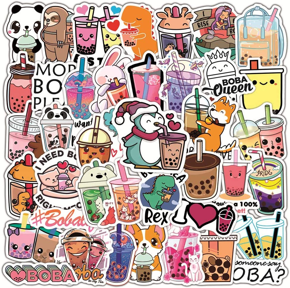 Bubble Tea Stickers for Water Bottles 50 PCS,Cute Milk Stickers for Teens,Girls,Kids- Perfect for Waterbottle,Laptop,Phone,Hydroflask