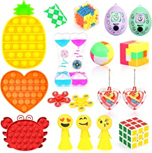 Fidget Toys Set with 3PCS Push Pop Bubble Sensory Toys, 18 Pack Stress Relief and Anti-Anxiety Toys for Kids Adults ADHD ADD Anxiety Autism with Puzzle Balls, Liquid Motion Timer, Guessing Egg Toys