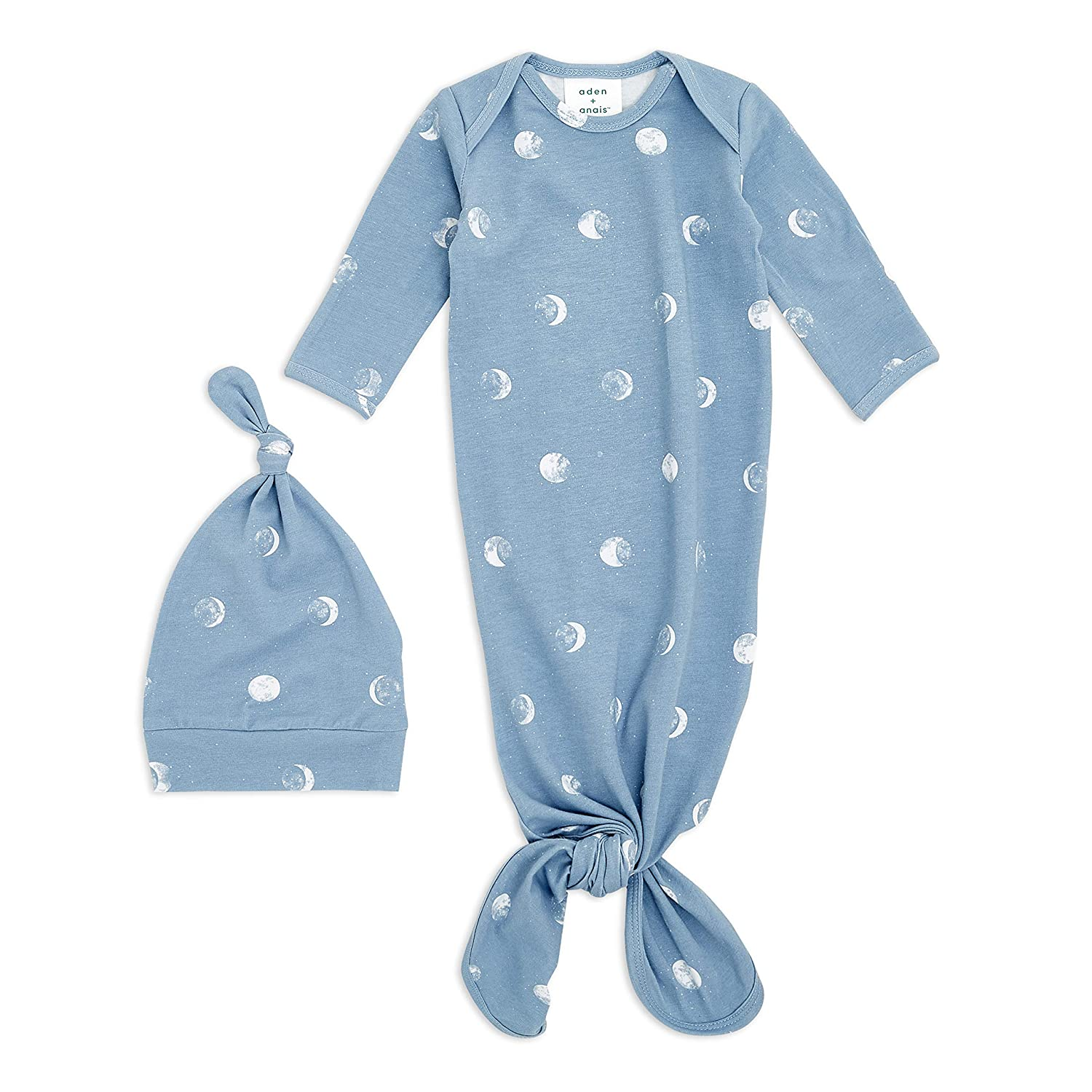 Super Soft and Stretchy Infant Gown with Mitten Cuffs aden Star anais Snuggle Knit Knotted Newborn Baby Gown and Hat Set 0-3 Months