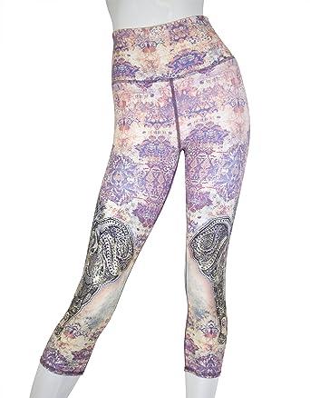 016d06e9f10aeb EVCR Women's Elephant Rhapsody High-Waisted Leggings at Amazon Women's  Clothing store: