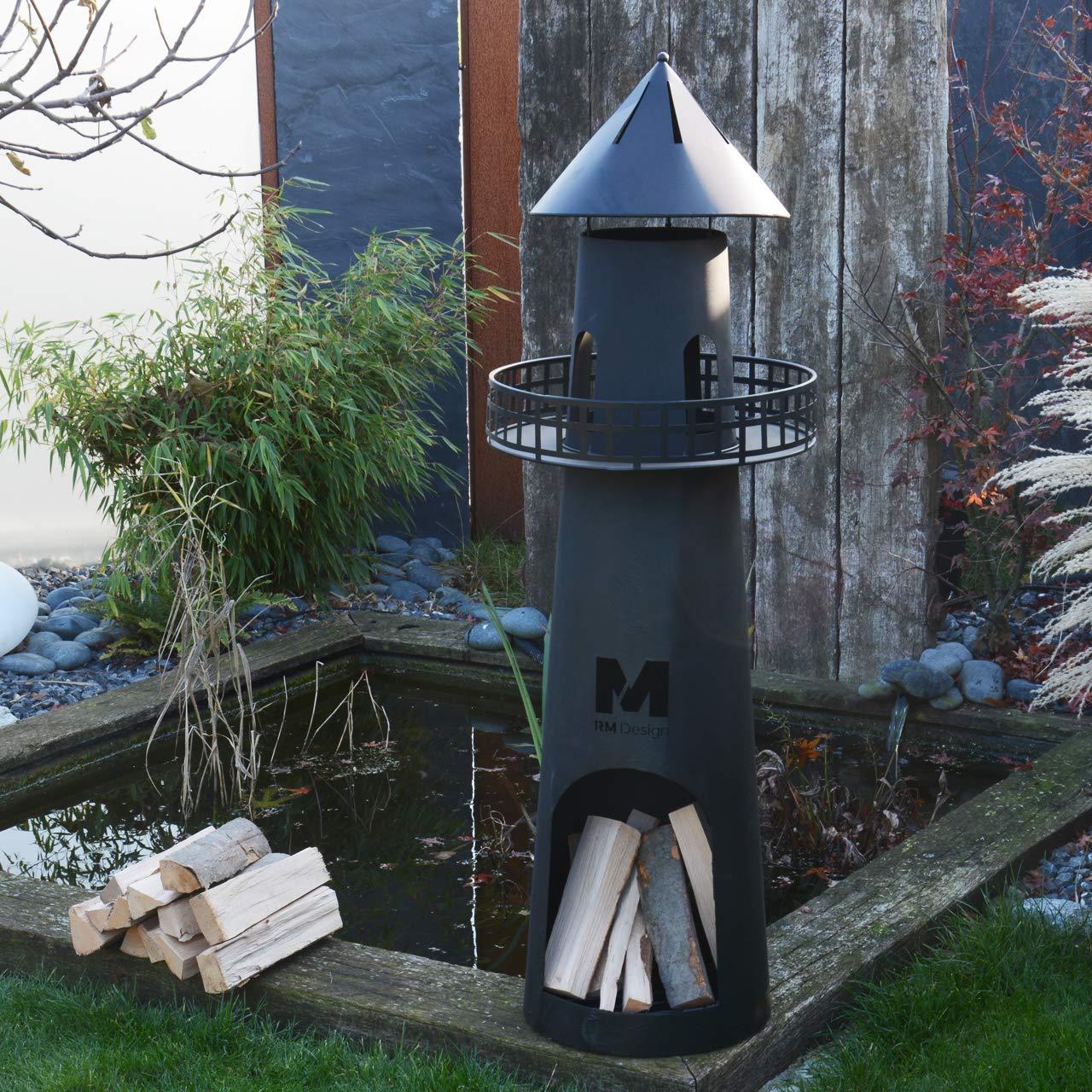 RM Diseño de Chimenea de jardín de Metal en Negro 131 cm Alto/Chimenea como Hoguera o Cesta para el jardín: Amazon.es: Jardín