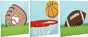 "Delta Children 3-Piece Canvas Wall Art Set for Boys 12""x12"", Sports"