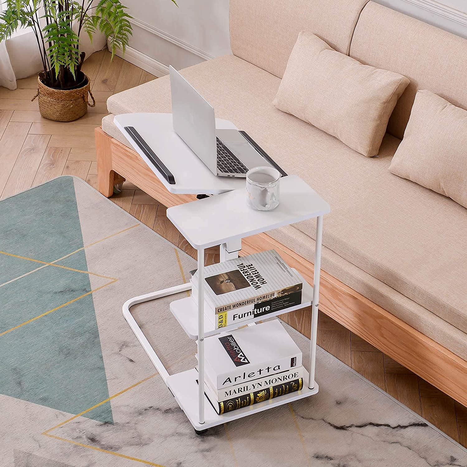 Natwind C-Shaped End Table with Storage Shelves Side Table on Wheels Height Adjustable Couch Table with Storage End Tables for Small Spaces Mobile Sofa Storage Table White