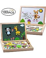 MOVEONSTEP Magnetische Holzpuzzles Pädagogisches Holzspielzeug 100 STÜCKE Doppelseitiges Magnetisches Reißbrett mit 3 Farbe Mark Stifte für Kinder Alter 3 +(Panda)