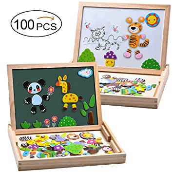 MOVEONSTEP 100 Piezas Puzzles de Madera Magnético, Rompecabezas Magnetico, Puzzle Magnetico, Pizarra Magnética Rompecabezas Madera Tablero de Dibujo ...