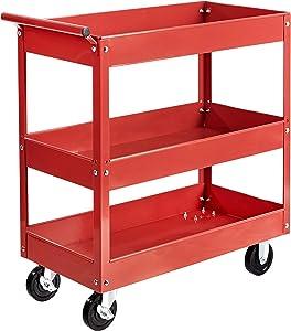 AmazonBasics Steel 3-Shelf Multipurpose Tub Utility/Supply Cart with 550-Pound Capacity - Red