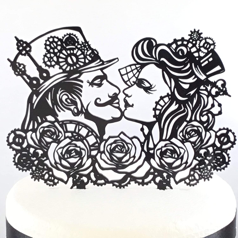 Steampunk Rose Gothic Rock Wedding Cake Topper