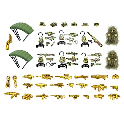 Wild Soldiers with Tactical Vest, Camouflage Ghillie Suit, Parachutes, and Weapon Compatible with Major Building Block Brand: Toys & Games