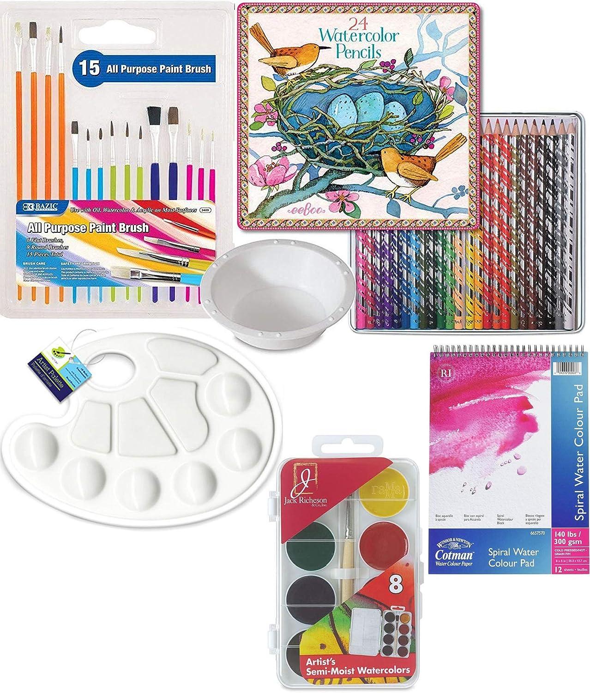 Color Wheel /& Plastic Palette Artist Accessory Set Watercolor Pad Sketch Pads