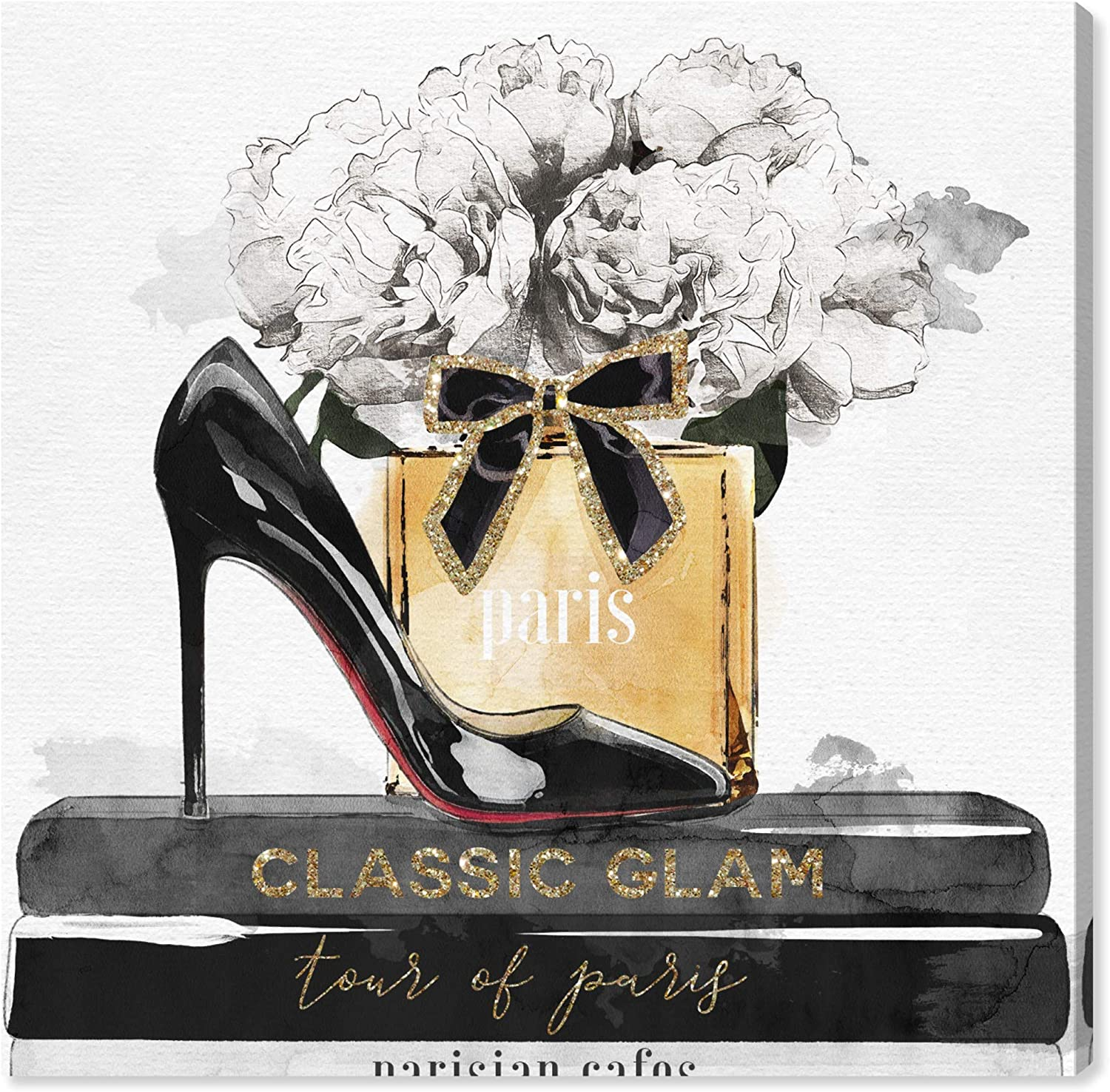 """The Oliver Gal Artist Co. Fashion and Glam Wall Art Canvas Prints 'Glamorous Stack' Home Décor, 16"""" x 16"""", Black, Gold"""