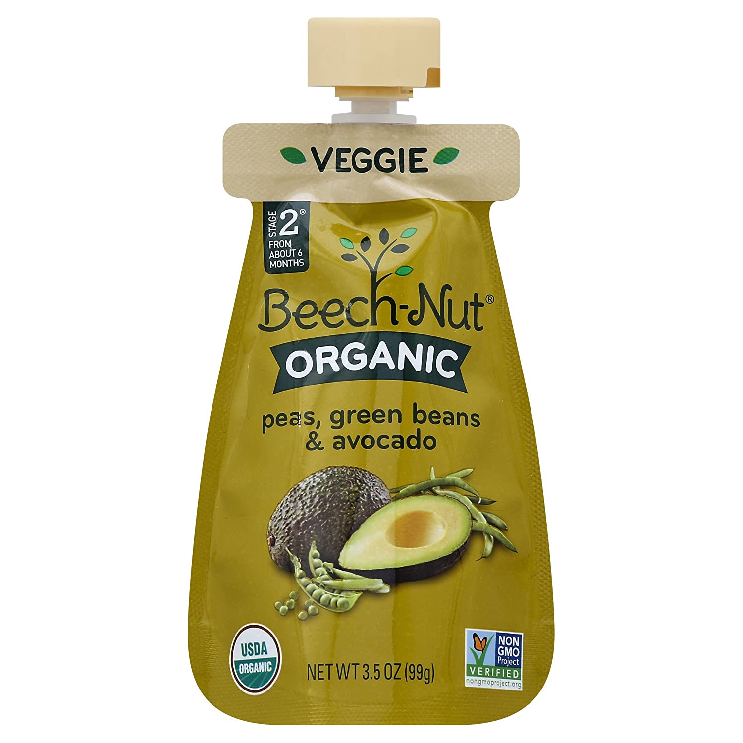 Beech-Nut Organic Baby Food, Stage 2, Organic Peas, Green Beans & Avocado, 3.5 Ounce Pouch (Pack of 12): Amazon.com: Grocery & Gourmet Food