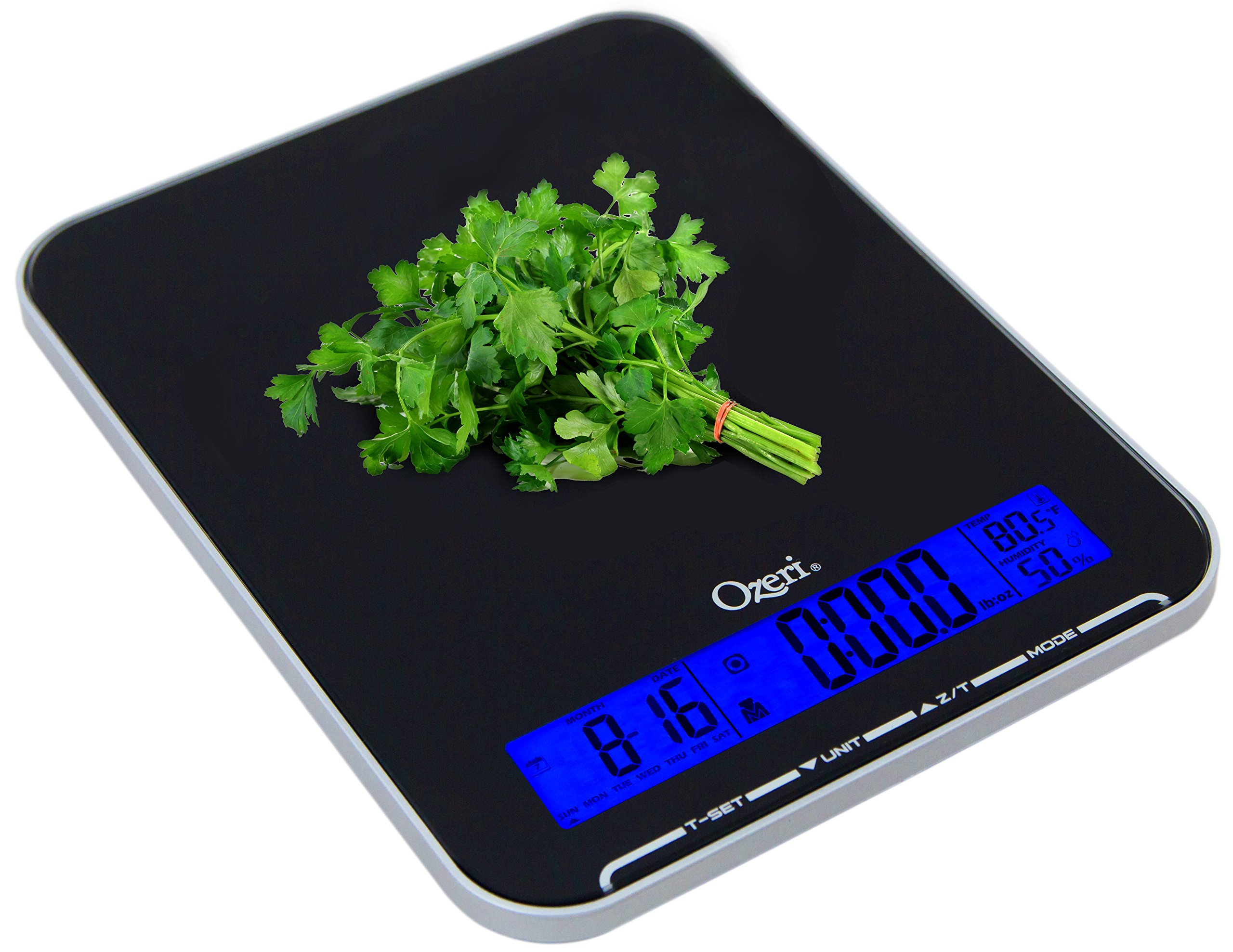 Ozeri Touch III 22 lbs (10 kg) Kitchen Scale in Tempered Glass, with Clock, Calendar, Temperature & Humidity Gauge