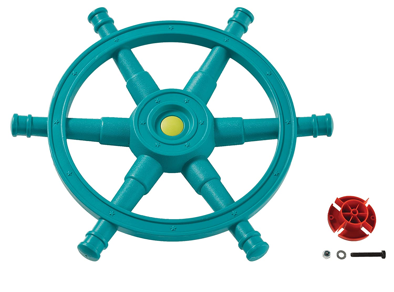 Pirate Boat Steering Wheel Jumbo Sized Turquoise Blue For Kids Play Tower or Tree House. Little Duck Bear Ltd