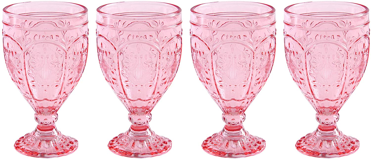 Fitz and Floyd Trestle Glassware Ornate Goblets, Set of 4, Blush