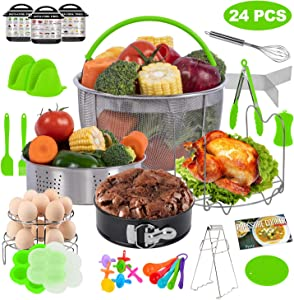 PentaQ 24 Pieces Instant Pot Accessories for 5/6/8 Quart, Pressure Cooker Accessories Set Green - Steamer Baskets, Egg Bites Mold, 7 Inch Springform Pan, Egg Rack, Magnetic Cheat Sheets
