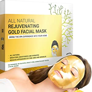 Gold Sheet Mask - Hydrating Facial Face Masks for Beauty, Anti Aging & Moisturizing - Facemask Made with Collagen, Hyaluronic Acid, 24k Nano Gold & Hydrogel- Formulated in San Francisco