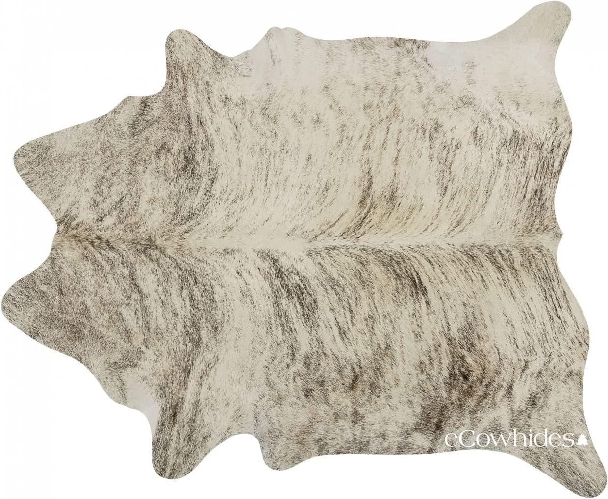 eCowhides Light Brindle Brazilian Cowhide Area Rug, Cowskin Leather Hide for Home Living Room Large 6 x 6 ft