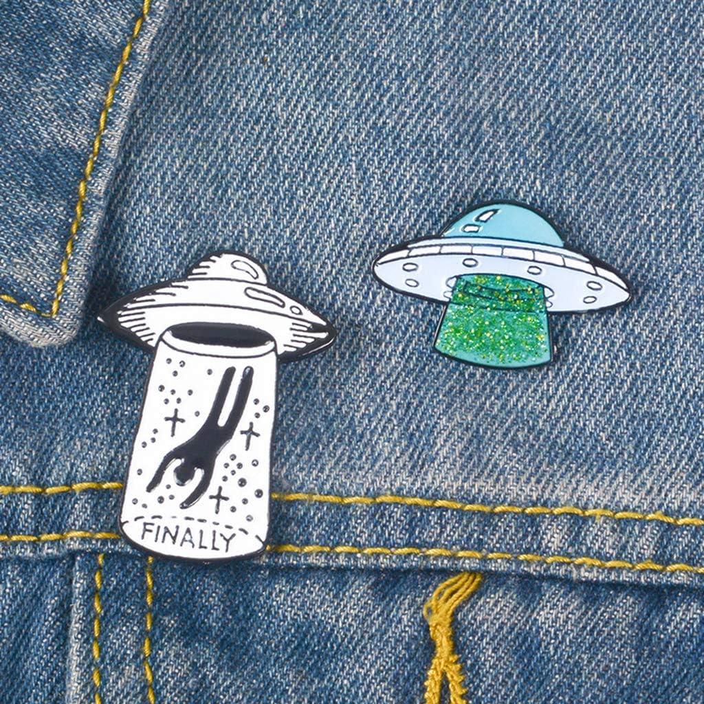 P Prettyia 2pcs /émail Broche Ensemble Punk Broches Mignonnes pour La F/ête /étrang/ère Extraterrestre UFO Revers Pin Badge Set pour La D/écoration De Costume