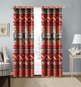 Rustic Western Native American 2 Piece Window Curtain Treatment Two Piece Drapes with Grommets in Brown Turquoise Blue Orange and Burgundy (2 Panels - 54x84 Each) Austin Brown Curtain 2PC