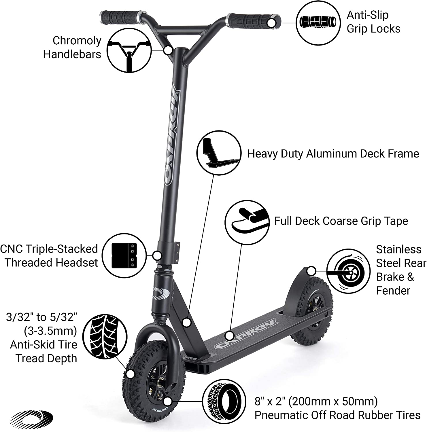 Osprey Dirt Scooter with Off Road All Terrain Pneumatic Trail Tires - 5 Colors Available - Offroad Scooter for Adults or Kids (Black)