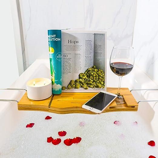 Bath Tub Tray grey Bath Tub Rack Tray storage box Wine Glass Holder for Bathroom Glass candle telephone 15 x 65 x 4 cm Grey