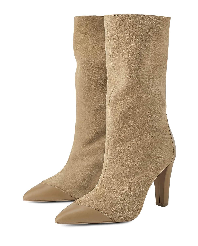 da9cc1a9372 Amazon.com  Zara Women Split suede mid-heel ankle boots 1105 001  Clothing