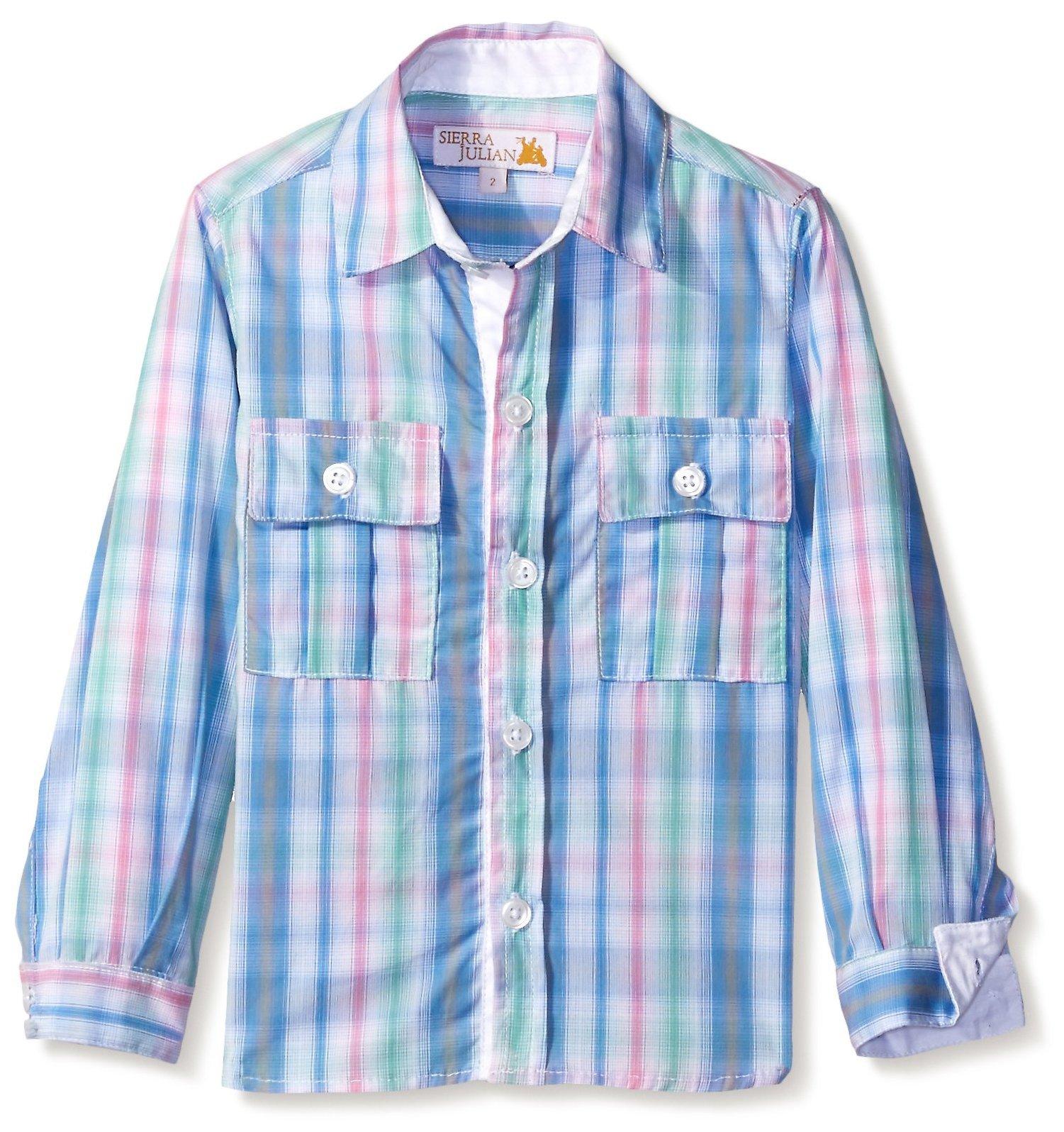 SIERRA JULIAN Boy's Mairo Button-up Shirt, Light Blue, 6 Years