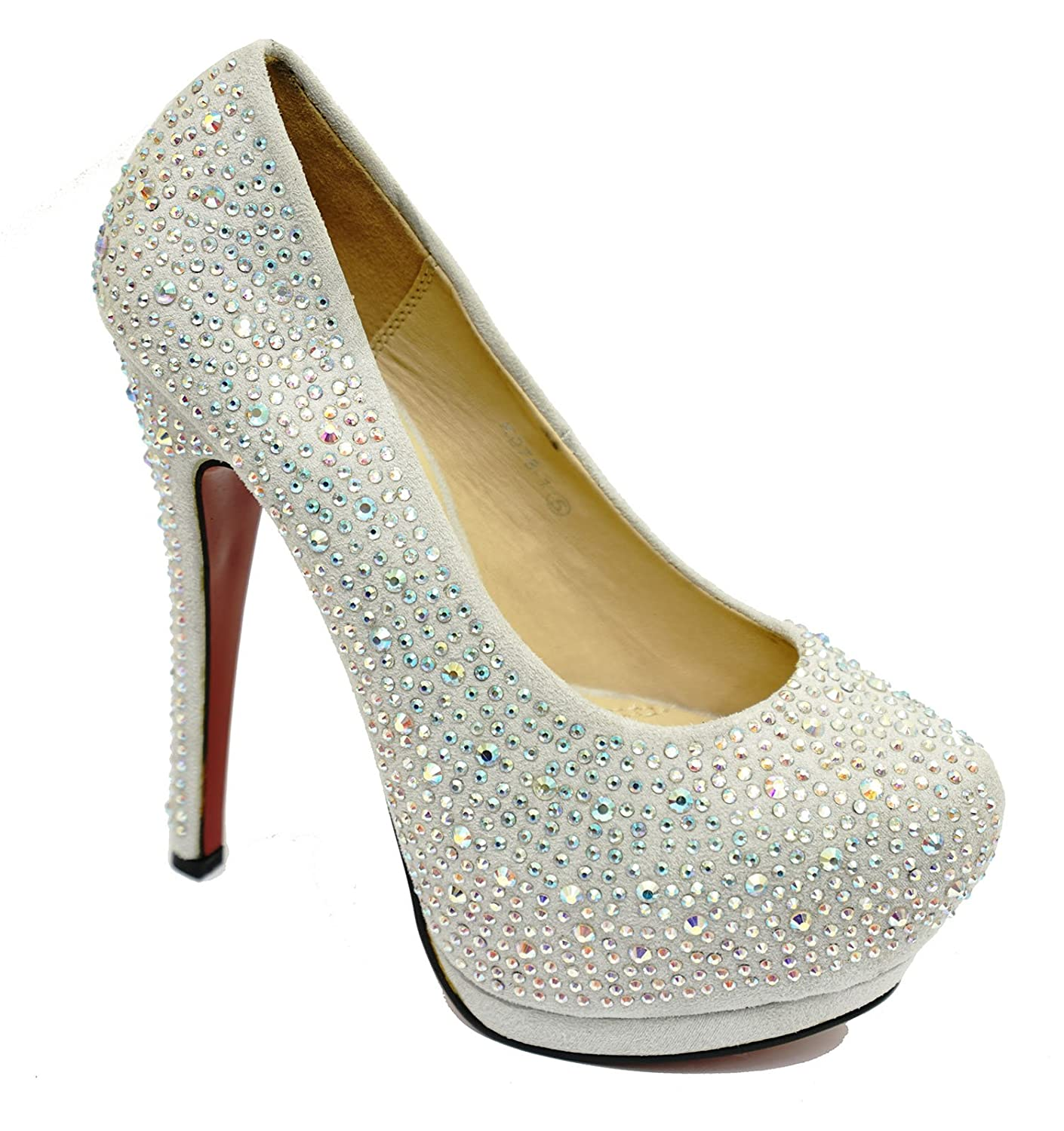 HeelzSoHigh Ladies Silver Diamante Stiletto High Heel Platform Slip-On  Court Shoes Sizes 3-8: Amazon.co.uk: Shoes & Bags
