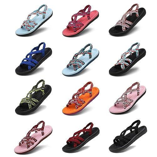 7cf8f2039d44d3 EAST LANDER Women Flat Sandals Handmade Braided Hiking Sandals Beach  Slipper Arch Support Summer Shoes ZDKDEA01