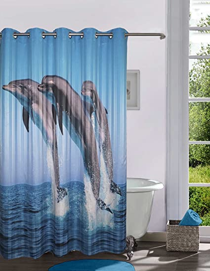 Lushomes Polyester Digitally Printed Dolphins Shower Curtain with 10 Eyelets (Multicolour)