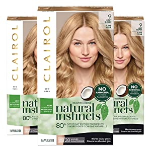 Clairol Natural Instincts Semi-Permanent, 9 Light Blonde, Sahara, 3 Count