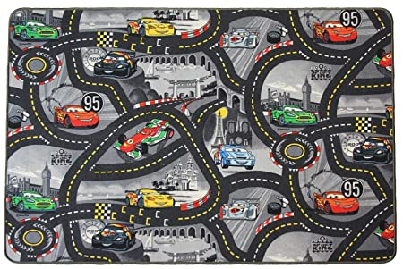 Kids Carpet Rug Disney Cars Beige Road Game Rug Cars All Sizes