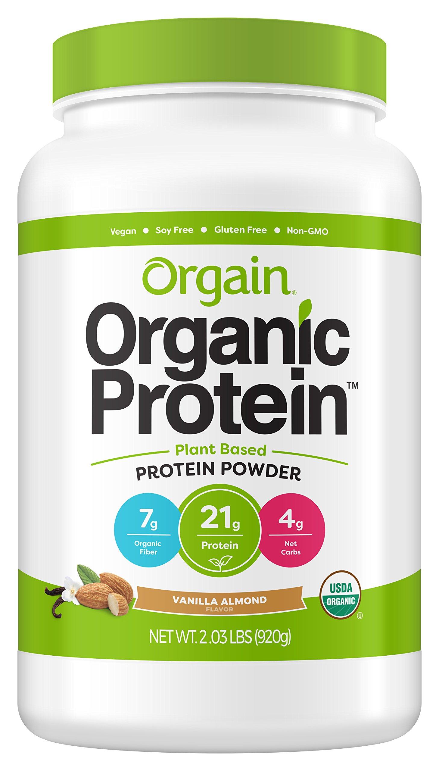 Orgain Organic Plant Based Protein Powder, Vanilla Almond, Vegan, Gluten Free, Non-GMO, 2.03 Pound, 1 Count, Packaging May Vary