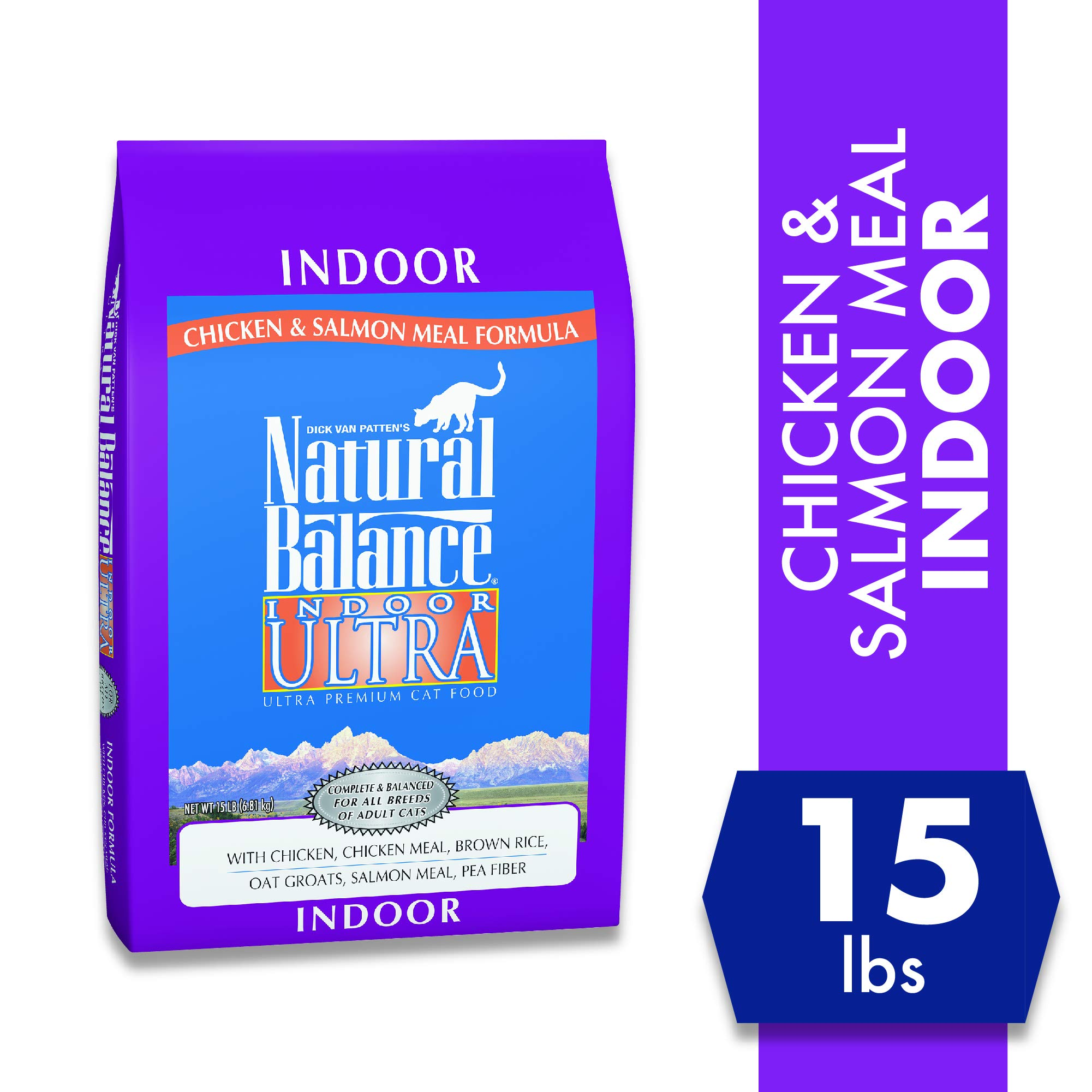 Natural Balance Indoor Ultra Chicken Meal & Salmon Meal Formula Dry Cat Food, 15-Pound by Natural Balance