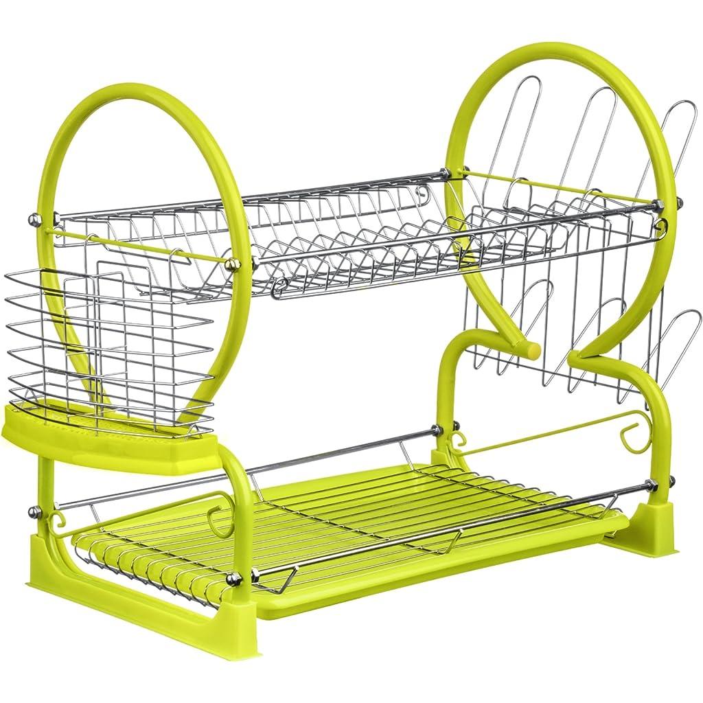 Premier Housewares Lime Green 2-Tier Dish Drainer