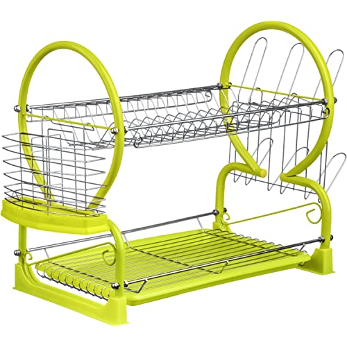 Premier Housewares Lime Green 2-Tier Dish Drainer
