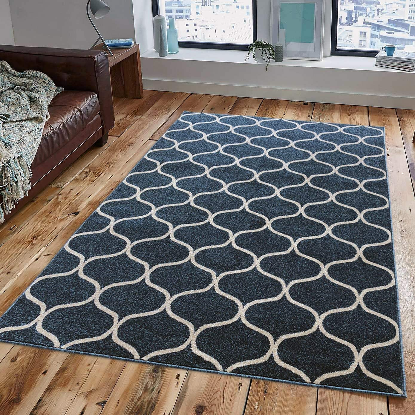 Area Rugs, Pyramid Home Decor Area Rugs, COSI Collection, Blue Area Rugs for Living Room, Kitchen, Bedroom Area Rugs, Carpet 5×7 Area Rugs Cleareance
