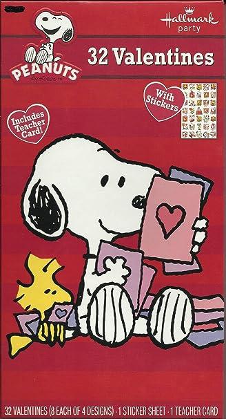 Amazoncom Snoopy Peanuts Valentine Cards 32 Pack Woodstock