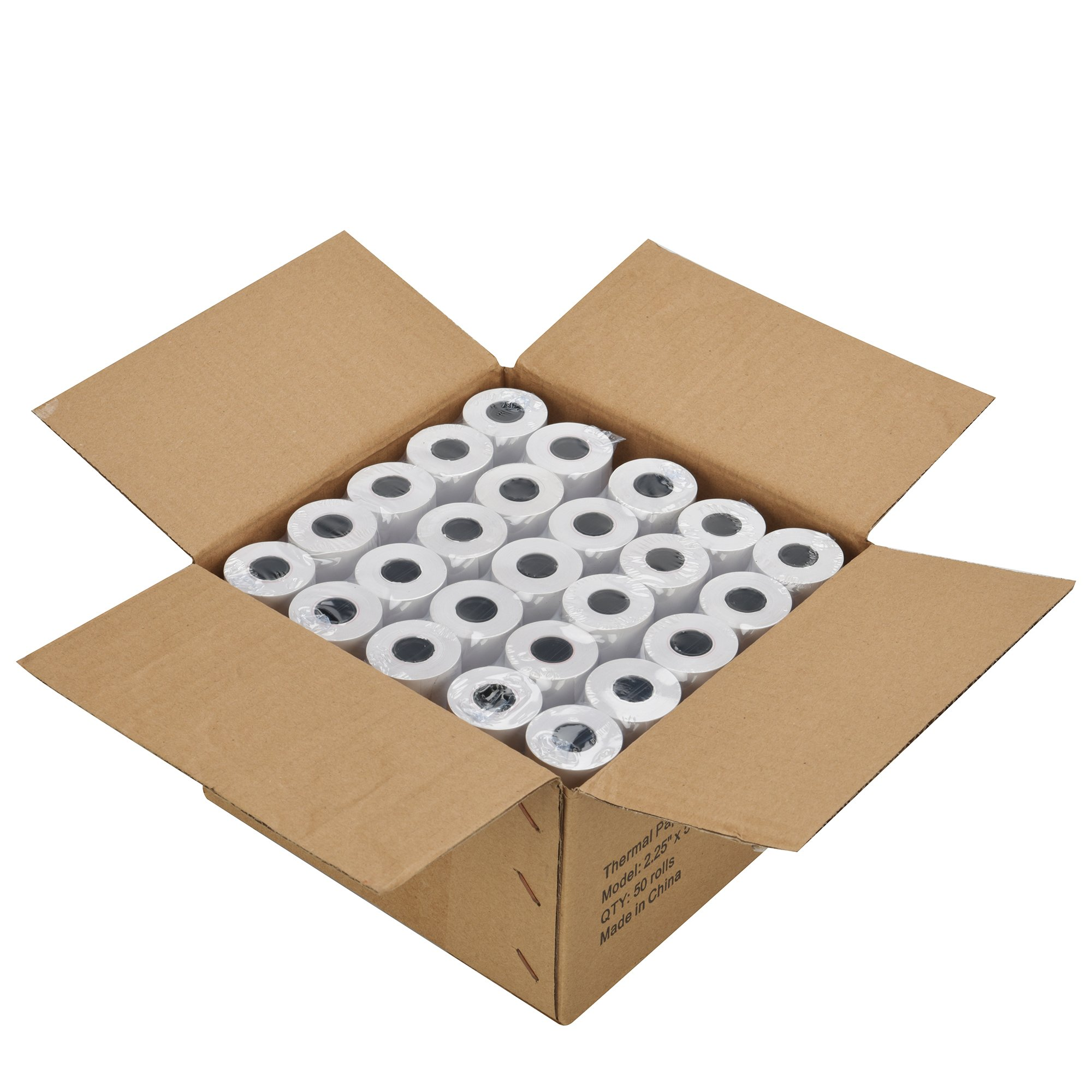 2 1/4'' x 50' Thermal Receipt Paper, Cash Register POS Paper Roll, 50 Rolls Total