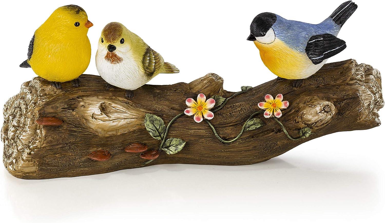 Birds on a Log Solar Powered LED Outdoor Decor Garden Light