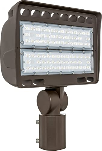 Westgate Lighting Outdoor LED Flood Light Fixture Slip Fitter Mount – Shoebox Street Area Parking Pole Security Floodlights – 120-277V – IP65 150 Watt 3000K Warm White Dark Bronze