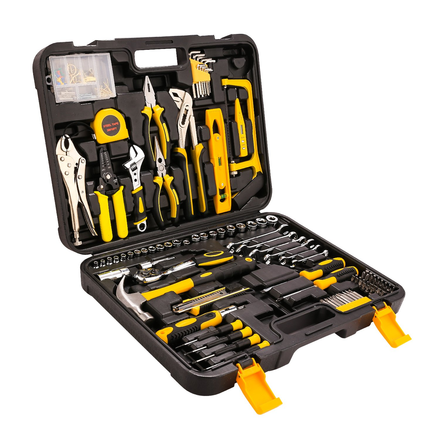 Meditool 202 Piece Home Tool Set Socket Wrench Auto Repair Tool Combination Mixed Tool Set Hand Tool Kit with Plastic Toolbox Storage Case