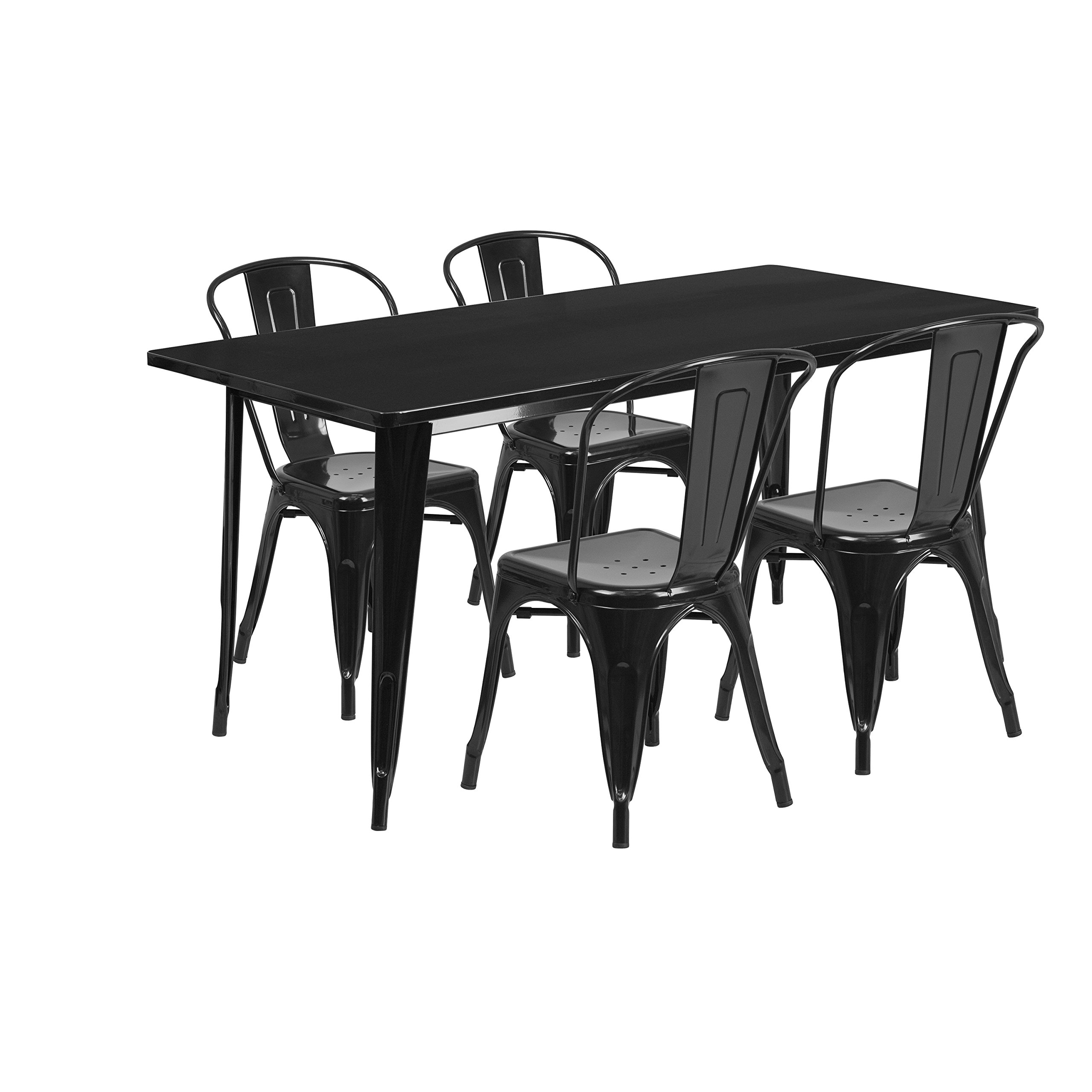 Flash Furniture 31.5'' x 63'' Rectangular Black Metal Indoor-Outdoor Table Set with 4 Stack Chairs by Flash Furniture